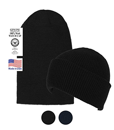Navy Wool Watch Cap - Black Military Style Wool Beanie Hat -Soft Warm Winter Watch Cap