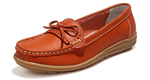 UNN Women Loafers Casual Moccasin Flats Slip On Boat Shoes Anti-Skid for Driving Walking Orange