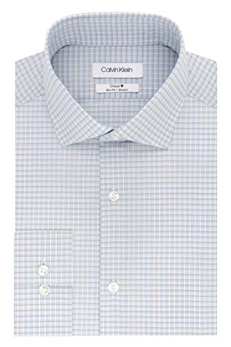 Calvin Klein Men's Dress Shirts Non Iron Slim Fit Stretch Check, Blue/Multi, 18