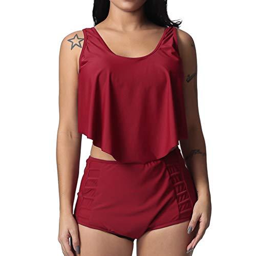 Sunhusing Women's Solid Color Sleeveless High Waist Ruffle Bikini Summer Holiday Beachwear Swimsuit Red