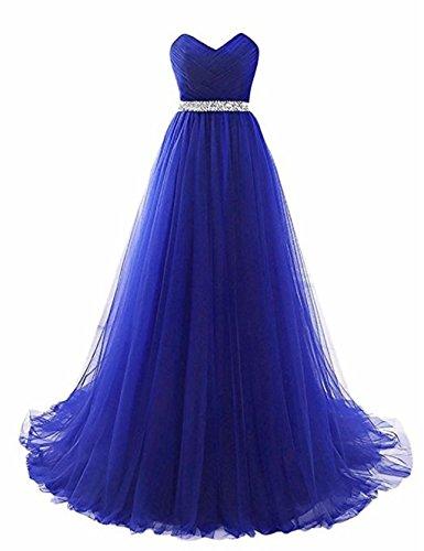mit G¨¹rtel Love Abendkleider King's Party Abendkleid rmellos Königsblau T¨¹ll aqfRxHtw