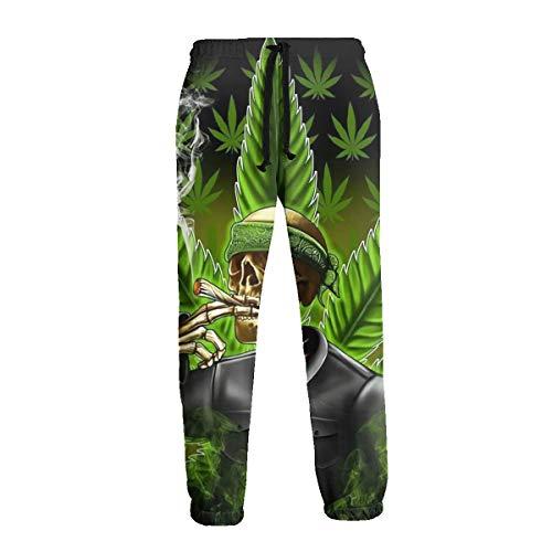 Green Marijuana Leaf Weed Skull Joggers 3D Print Unisex Sweatpants Novely Trousers Running Sport Gym Pants (Weed Pyjamas)