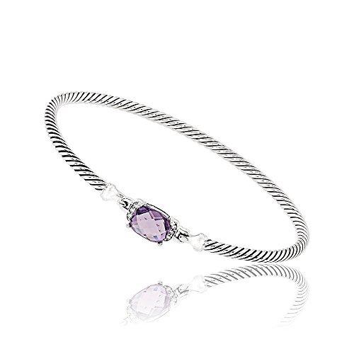 David Yurman Petite Wheaton Amethyst & Diamonds Bracelet B1194DSSAAMDI