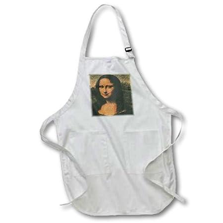 3dRose apr _ 34632 _ 4 Mona Lisa Full Longitud Cocina Delantal, 22 ...