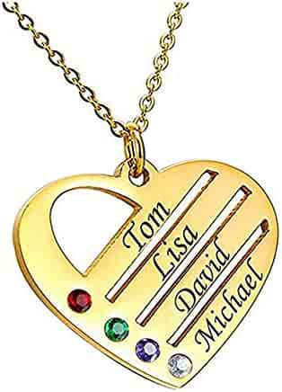 Thymeflower Personalized Engraved Heart Necklace-Couple Pendant with 2 Names and Birthstones