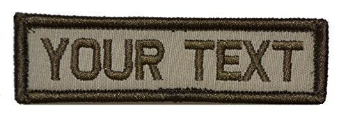 Customizable Text 1x3 Patch w/Hook Fastener Morale Patch - Desert Tan (Patch Velcro Tan)