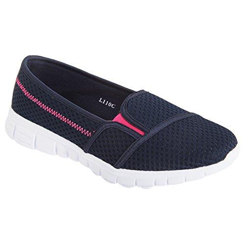 Dek - Zapatillas deportivas sin cordones con memory foam para mujer Azul marino