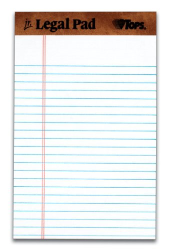 TOPS The Legal Pad Legal Pad, 5 x 8 Inches, Perforated, White, Narrow Rule, 50 Sheets per Pad, 5 Pads per Pack (75008) ()