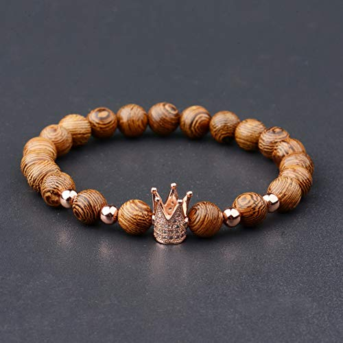 Mikash New Luxury Crown Natural Wooden Stone Women Mens Wooden Bead Fashion Bracelets | Model BRCLT - 38457 |