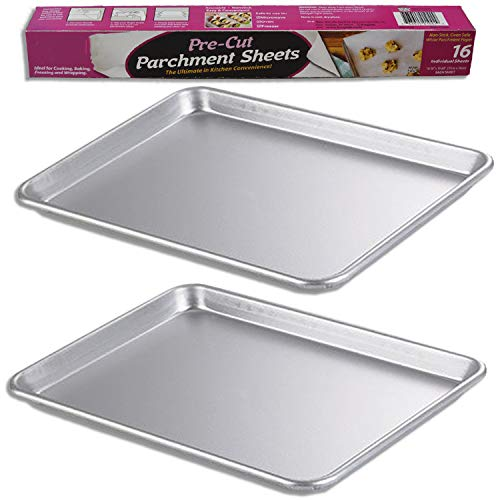 "2 Sheet Pans (13"" x 18"") + 16 Pre-Cut Parchment Papers – Half Size, for Home or Commercial Baking. Perfect Bakeware Supply set for gifts, for new and experienced bakers alike"