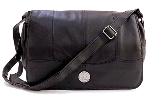 The Premium Leather Company, Borsa a tracolla donna Nero nero