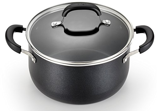 T-fal C085SC74 OptiCook Thermo-Spot Titanium Nonstick Dishwasher Safe Oven Safe Fry Pan Cookware Set, 12-Piece, Black