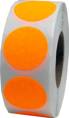 Fluorescent Orange Color Coding Labels Round Circle Dots 1 Inch 500 Total Adhesive Stickers