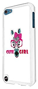 407 - Zebra in glasses Cute Girl Design For apple ipod Touch 5 Fashion Trend CASE Back COVER Plastic&Thin Metal