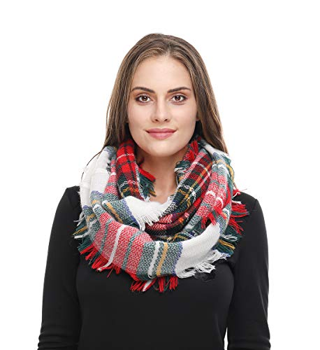 Lucky Leaf Women Winter Checked Pattern Cashmere Feel Warm Plaid Infinity Scarf (Red White Plaid)