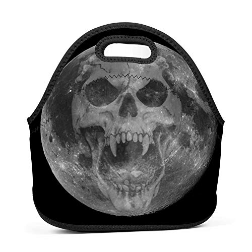 Brniogn Waterproof Lunch Box Carry Case Halloween Scary Skull Moon Lunch Bag for Adult Women and Men - Idea for Beach,Picnics,Road Trip,Meal Prep,Everyday Lunch to Work or School -