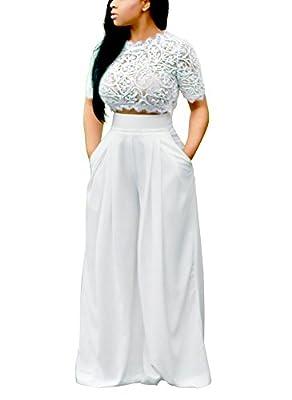 Dreamparis Women's 2 Pieces outfits Lace Crop Top+Wide Leg Long Pants Set Jumpsuits
