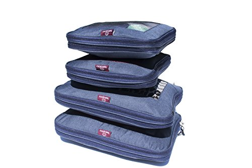 Compression Packing Cube Set By TravelBosca | 4 Piece Luggage Cubes for Organized Travel | 2 Large 2 Medium Cubes