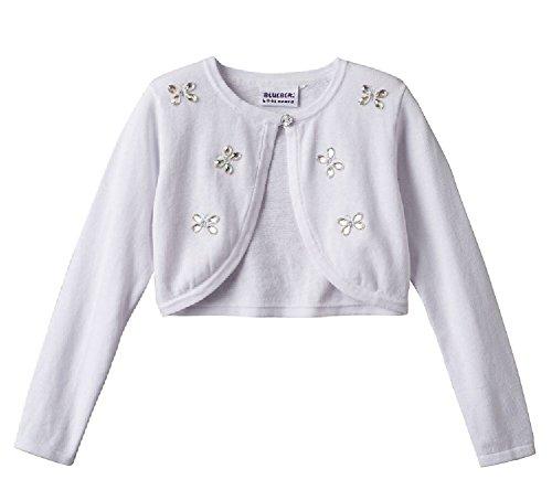 Blueberi Boulevard Girls Butterfly Jewel Shrug Sweater, White (4) by Blueberi Boulevard