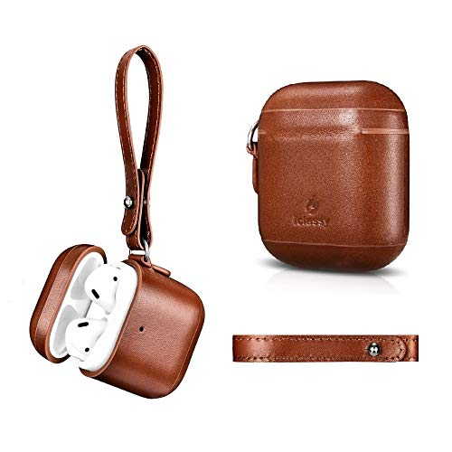 AirPods Leather Case with Strap Keychain, Luxury Handmade Protective Case Cover for Apple AirPods 2 & 1, Support Wireless Charging, Front LED Visible ( iclassy Brown) -