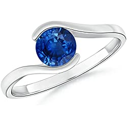 Half Bezel Solitaire Round Natural Blue Sapphire Bypass Ring