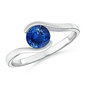 Half Bezel Solitaire Round Natural Blue Sapphire Bypass Ring in Platinum (5.5mm Blue Sapphire)