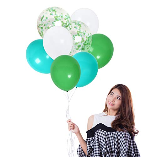Mint Green Confetti Balloons and Green White Turquoise Balloons Pack of 42 Party Kit for Jungle Birthday Baby Shower Backdrop - Drop Missile