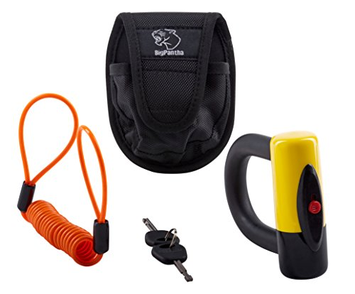 Motorcycle Disc Lock (U-Lock Security Model). Made from Hardened Steel this Tough & Reliable Motorcycle Lock comes with Highly Visible free Reminder Cable & Holster. From BigPantha (Yellow)!