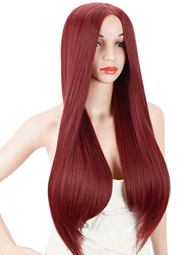 Kalyss Women's Wig Long Straight Wine Red Middle Parting Heat Resistant Yaki Synthetic Cosplay Costume Full Hair Wig]()