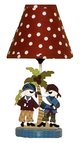 (Cotton Tale Designs Pirates Cove Fun Colorful Decorative Lamp with Red & White Polka Dot Fabric Shade These Ship Mates Stand Under a Palm Tree, Uno Fitting)