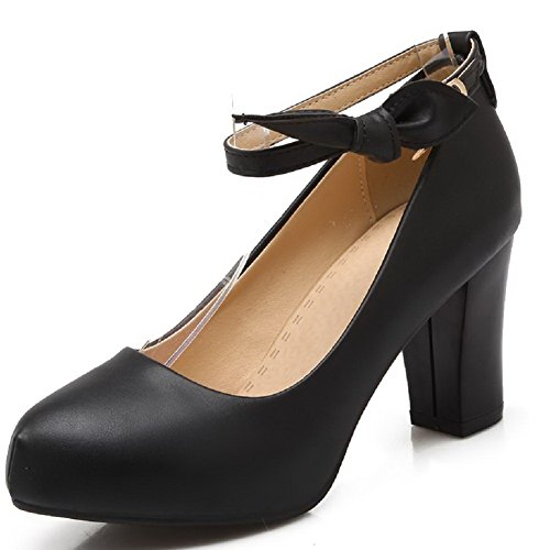 Amoonyfashion Dames Pu Hoge Hakken Ronde Dichte Teen Solide Gesp Pumps-schoenen Zwart