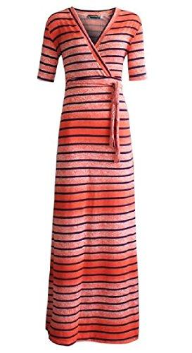 Sexy Strisce Cintura As1 Delle Vestito Con Donne Digitale Partito Coolred Maxi ROwpf