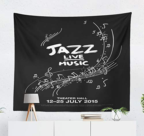 (YGUII Jazz-Music Wall Tapestry,Tapestry Wall Hanging Jazz Festival Live Music Poster Music Jazz Poster Live Letters Card Wall Decor for Bedroom Living Room Tablecloth Dorm 150150cm(60
