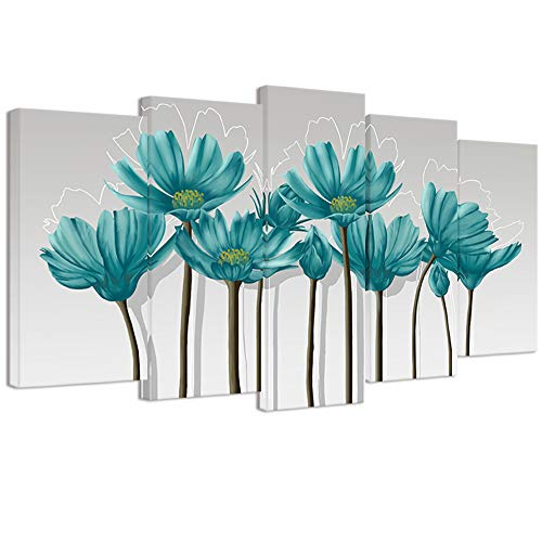Visual Art Decor Large Teal Grey and White Abstract Floral Canvas Wall Art Pictures Beautiful Flowers Painting Printed on Canvas Gallery Wrap Living Room Office Wall Decoration Artwork (W-60 xH-32)