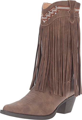 ROPER Women's Fringe Faux Leather Western Boot Pointed Toe Brown 11 M
