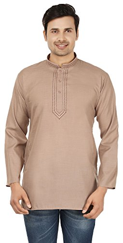 Cotton Mens Short Kurta Shirt Embroidered Dress India Fashion Clothing (Brown, L) ()