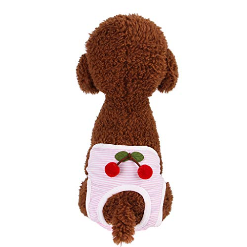 Sayhi Pet Physiology Pants Cherry Style Safety Pants Cat Costume Summer Apparel Dogs Outfit Pet Clothes for Dogs Female (Pink,L) -