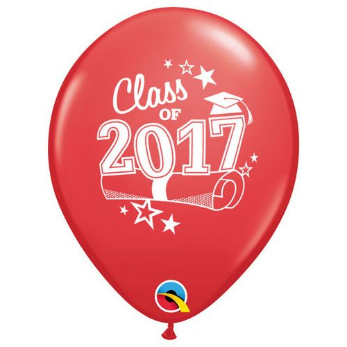 Qualatex Latex Balloons 48030-Q Class of 2017-RED Red 11