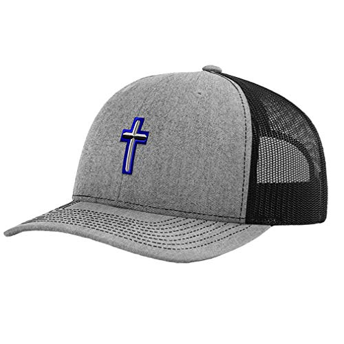 Richardson Trucker Hat Air Force Christian Chaplain Embroidery Veteran Polyester Baseball Mesh Cap Snaps - Heather Gray/Black, Design Only