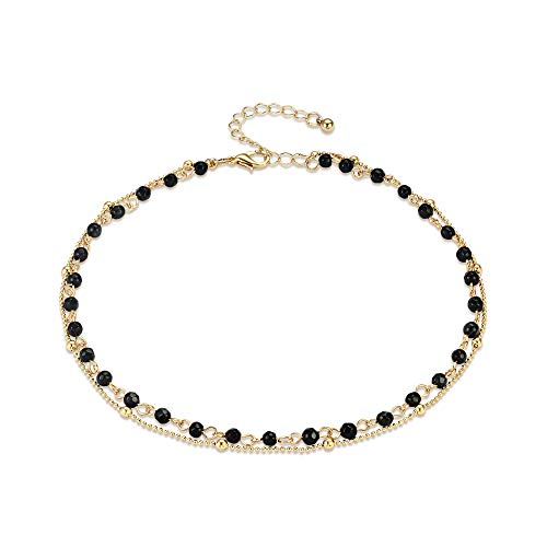 (Fettero 14K Gold Plated Dainty Layered Black Natural Stone Beaded Choker Necklace, Handmade Beads Chain (NK5-6))