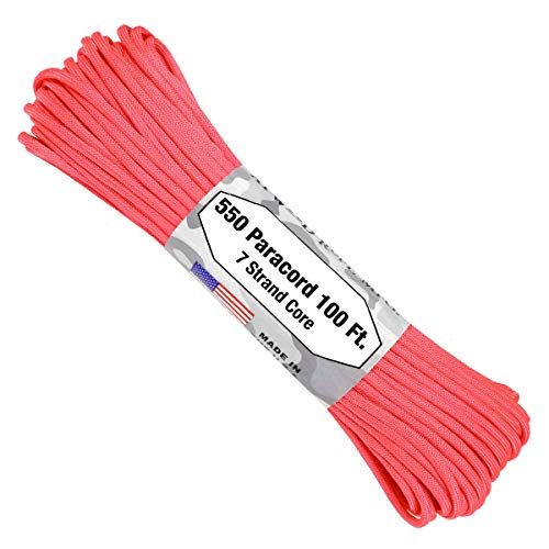 Atwood Rope MFG 550 Paracord 100 Feet 7-Strand Core Parachute Cord (Pink) (Dog Leash Braided Pink)