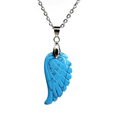 Amandastone Natural Blue Turquoise Gemstone Handmade Carved Angel Wing Pendant Necklaces 18