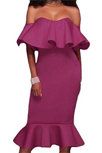 Domple Womens Hors Volants Épaule Amincissent Robe De Soirée En Queue De Poisson Violet
