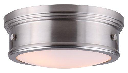 CANARM LTD IFM624A13BN Boku BN 2 Bulb 13 Inch Flush Mount Brushed Nickel with Flat Opal Glass ()