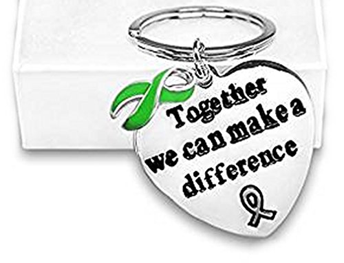 Cerebral Palsy/Bipolar Disorder/Liver Cancer Awareness Green Ribbon Big Heart Key Chain