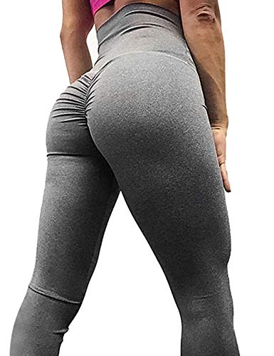 AGROSTE Women's High Waist Scrunch Butt Yoga Pants Workout Ruched Butt Lifting Stretchy Leggings Hip Push Up Stretchy Tights -