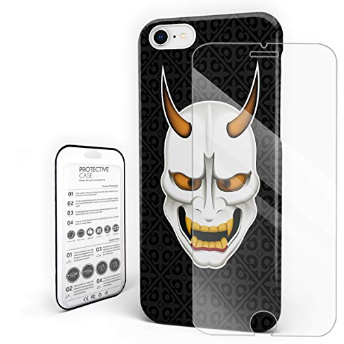Slim Fit Hard Shell Case for iPhone 7/8 Full Protective Shockproof Halloween Japanese Traditional Scary Devil Mask Cover Case for Apple 7/8 ()