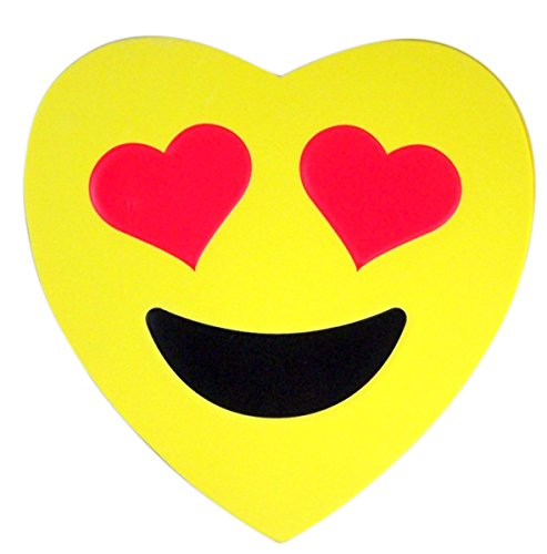 Emoji Emojicon Foam Heart Valentines Day Box with Gummy Candy, 3.17 oz (Smiling Face Heart Eye Emoji Face) -