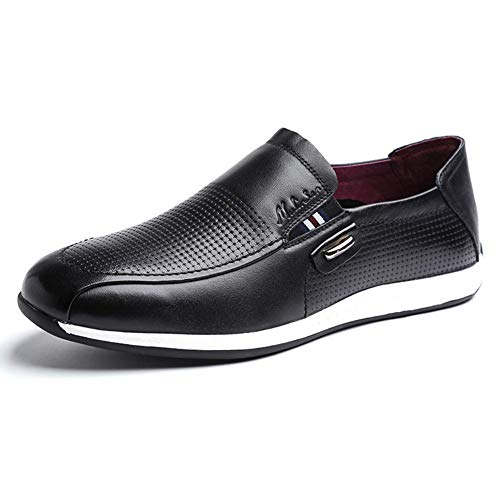 de Hombres para US HhGold Mocasines de UK Cabeza del Ocasionales los 9 resbalón de Verano cómodos para Cuero Color Negro Zapatos Hombres Negro 8 Redonda el Tamaño wqfxqTn8Y