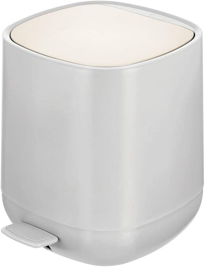 mDesign Modern 1.3 Gallon Plastic Step Trash Can Wastebasket, Small Garbage Container Bin - for Bathroom, Powder Room, Bedroom, Kitchen, Craft Room, Office - Removable Liner Bucket - Gray/Matte Satin